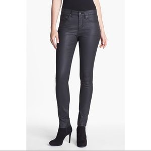 Eileen Fisher Black Coated Jeans Pants